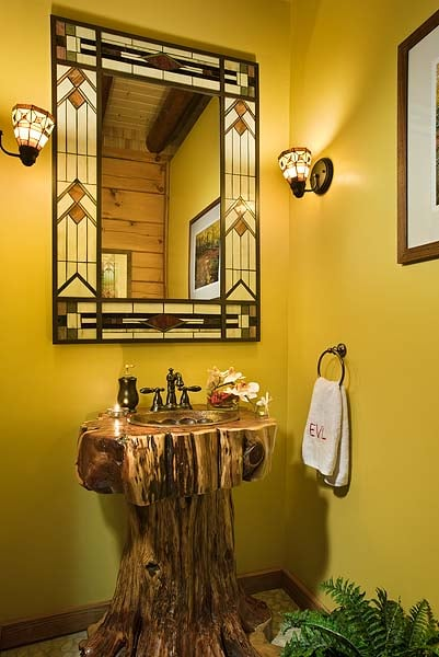 Rustic stump pedestal vanities