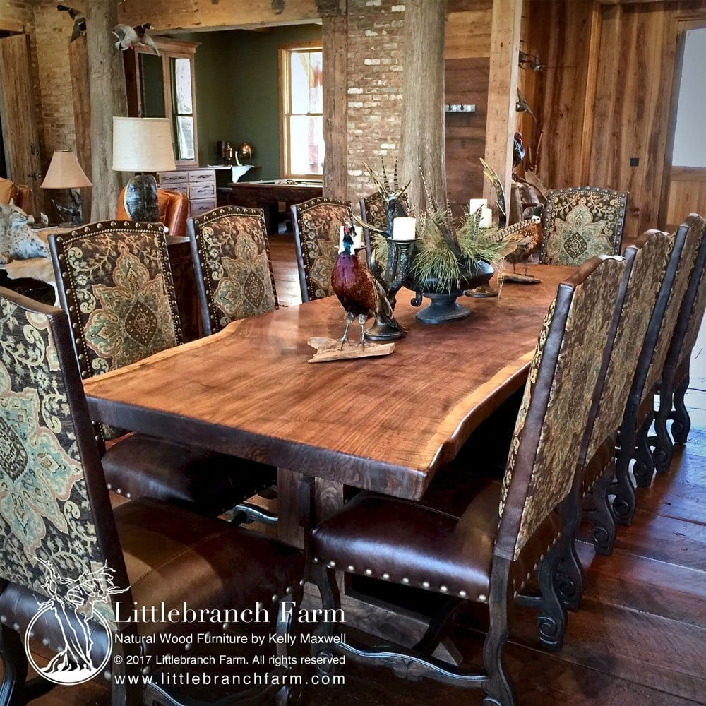 Live Edge Dining Table Made From A Mive Black Walnut This Wood Farm Is Featured With High Back Chairs