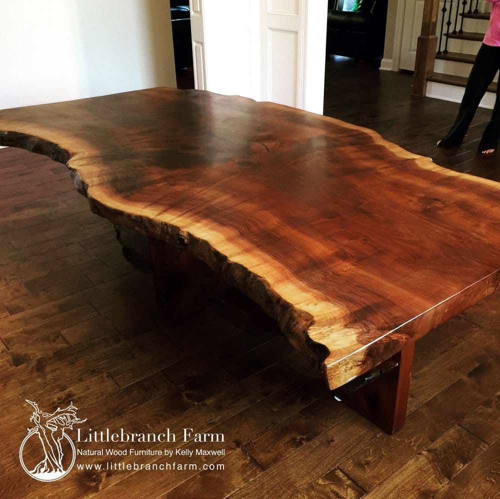 Live Edge Slab Table Oak Glass Dining Chairs