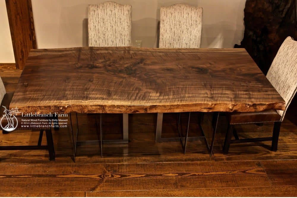 rustic dining table live edge wood slabs littlebranch farm. Black Bedroom Furniture Sets. Home Design Ideas