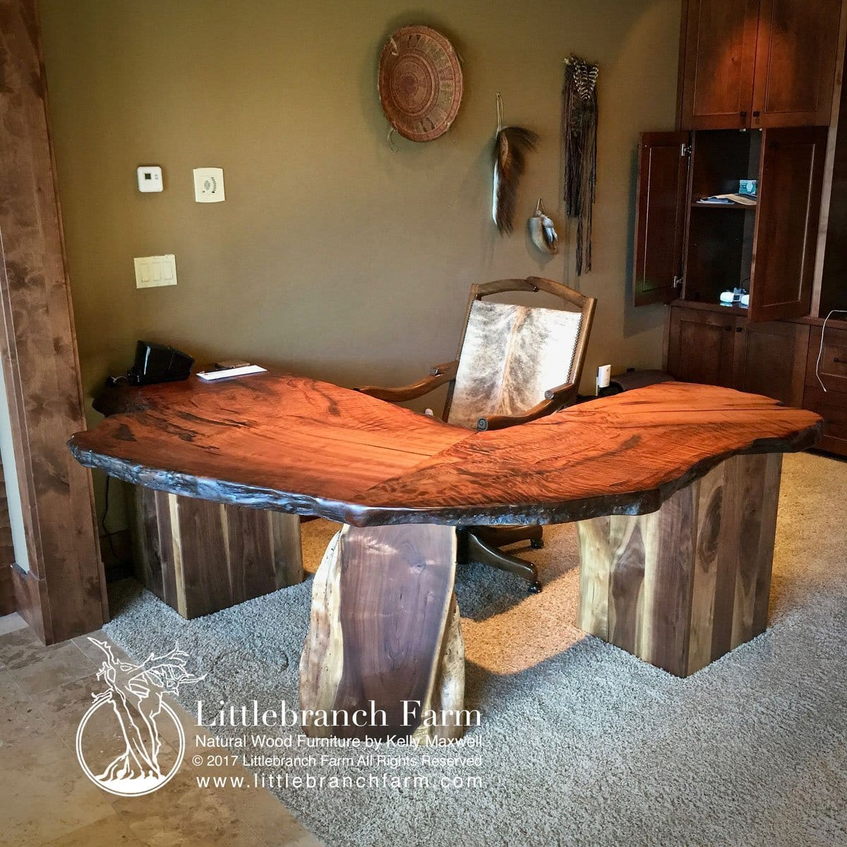 Custom Rustic Desk Handcrafted For A Home Executive Office It Features Old Growth Curly Redwood Wood Slabs Supported By Black Walnut Bases