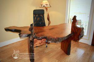 Raw edge wood desk