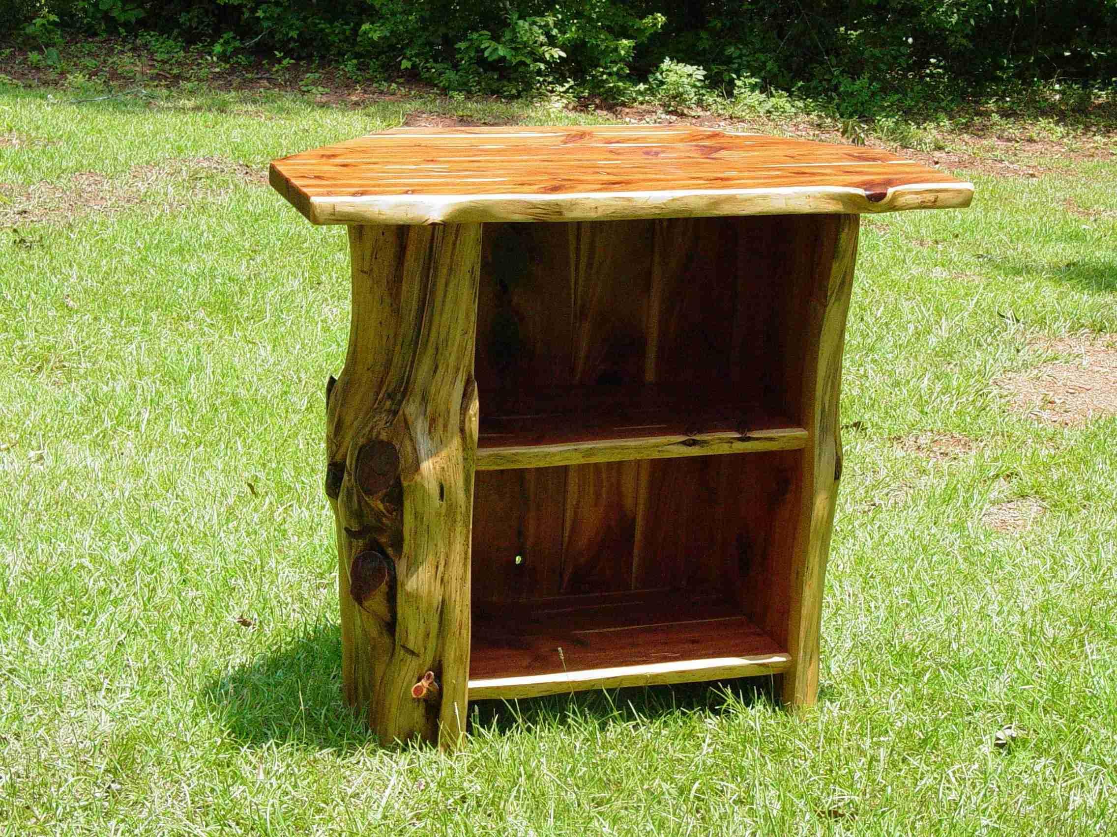 Rustic Wood Corner TV Stand
