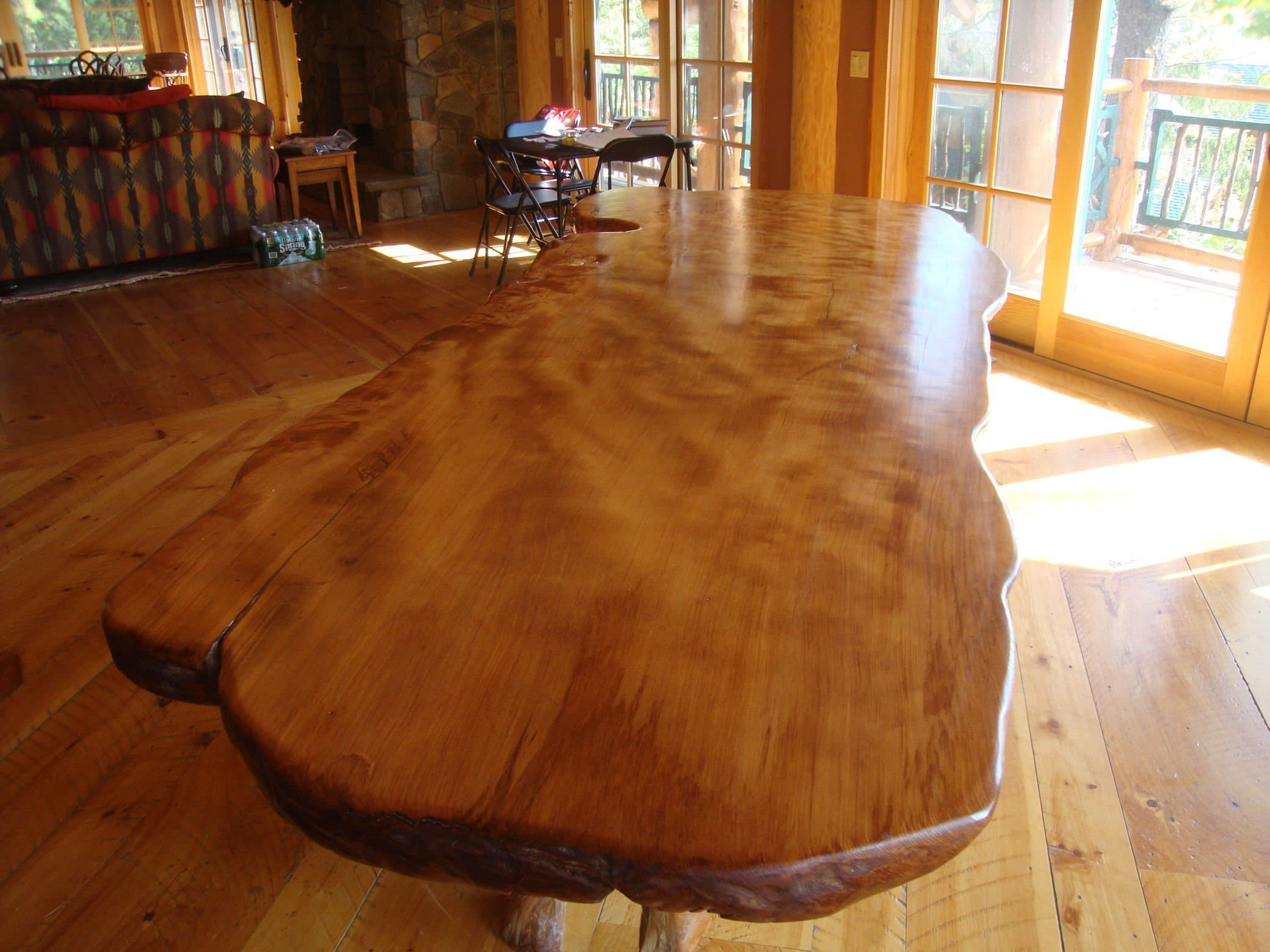 Rustic dining table - live edge wood slabs