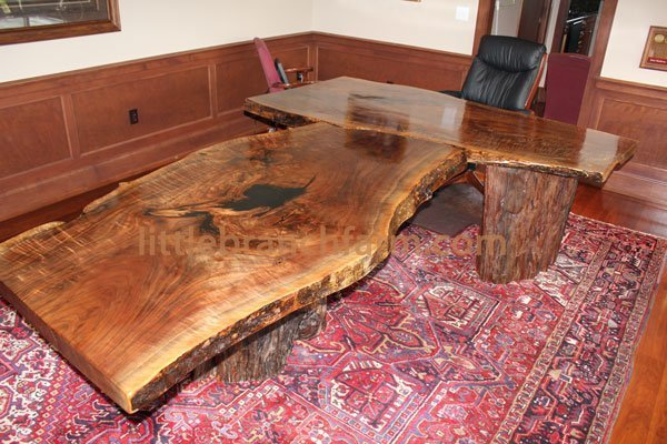 Live edge slab desk