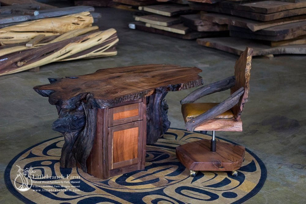 Rustic office Desk with Redwood Burl Top and Redwood Root Base | Littlebranch Farm