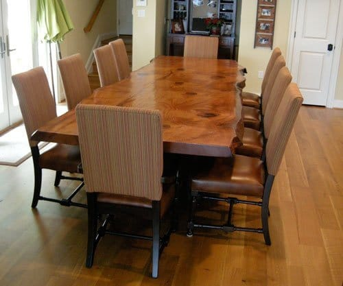 ... rustic dining table Handcrafted from reclaimed ... - Rustic Dining Table - Live Edge Wood Slabs