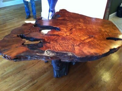 burl wood slab table