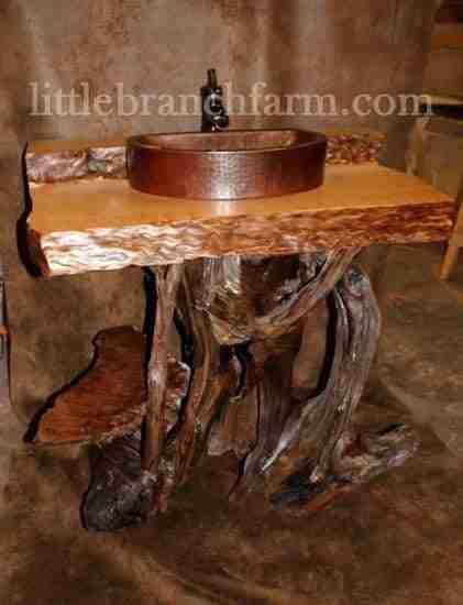 rustic log vanity