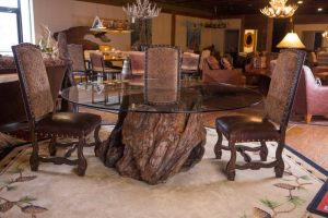Glass Top Dining Table with Redwood Root Base | Littlebranch Farm