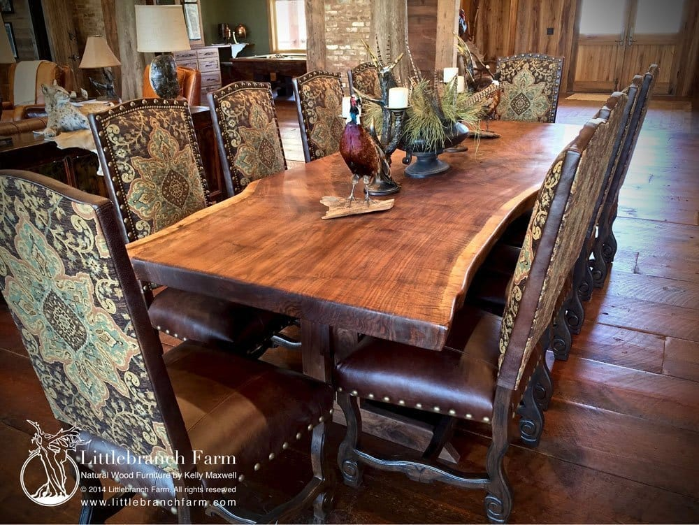 Rustic dining table - live edge wood slabs | Littlench Farm