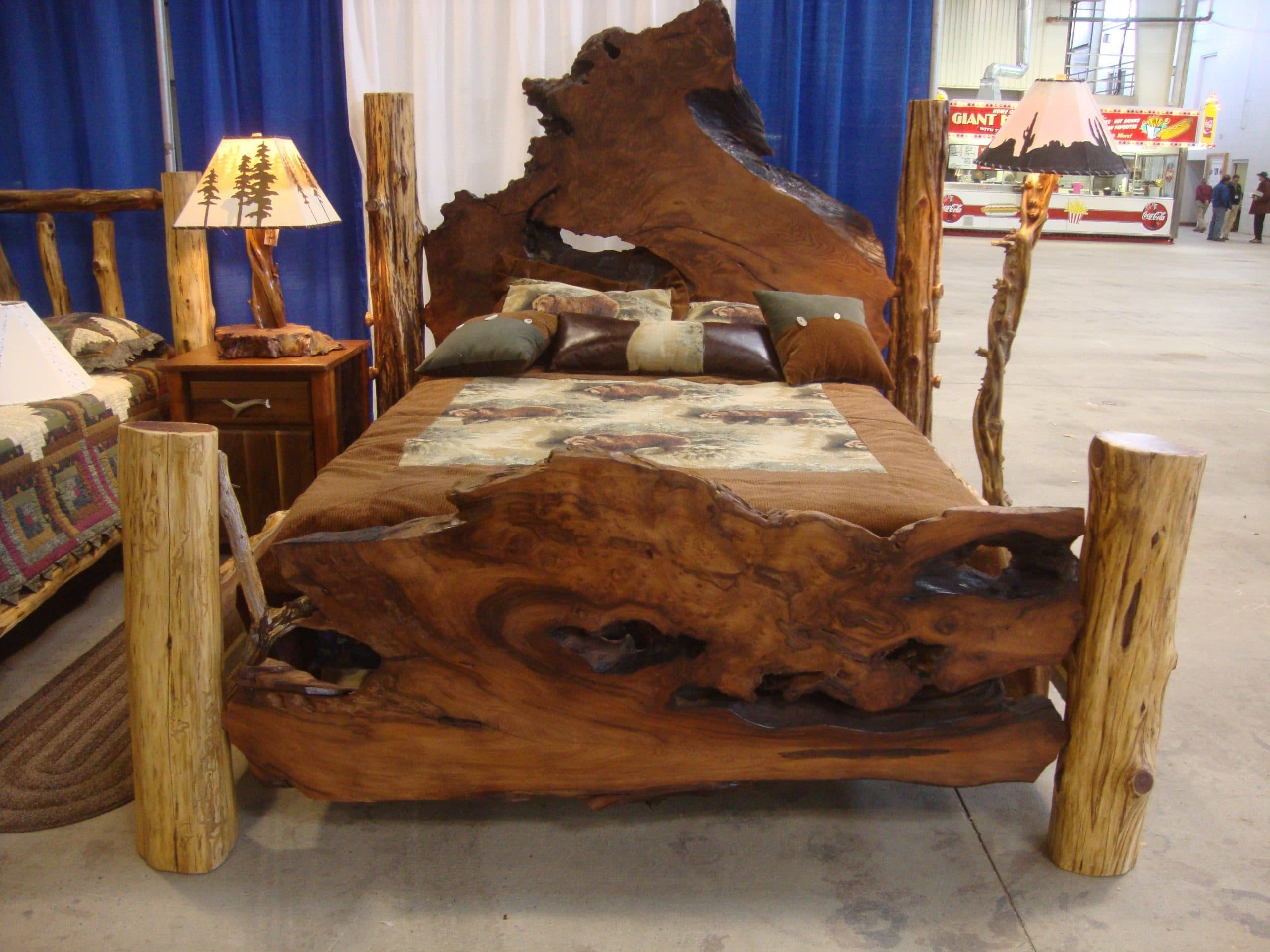 Rustic beds live edge burl wood slab bed for Rustic bedroom furniture