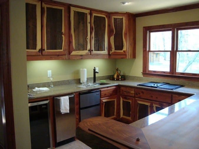 Summer image blogs custom barn wood cabinet with for Cedar kitchen cabinets