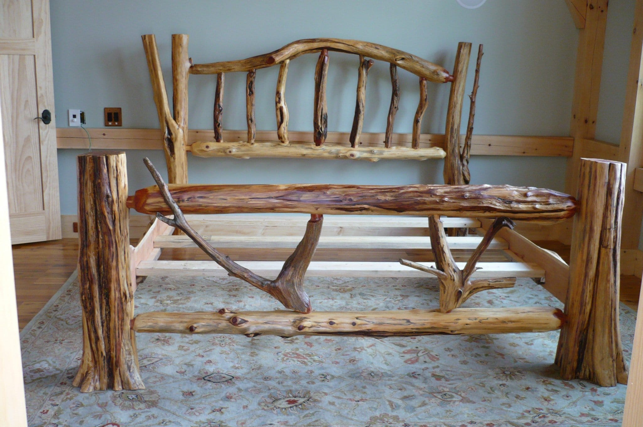 custom cedar log bed king or queen size each is a one of a kind creation by kelly maxwell