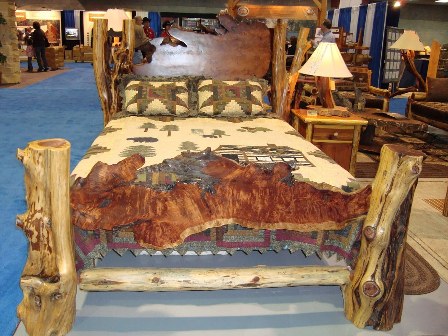 Rustic Beds live edge burl wood slab bed : redwood burl and cedar log bed from littlebranchfarm.com size 1444 x 1083 jpeg 377kB