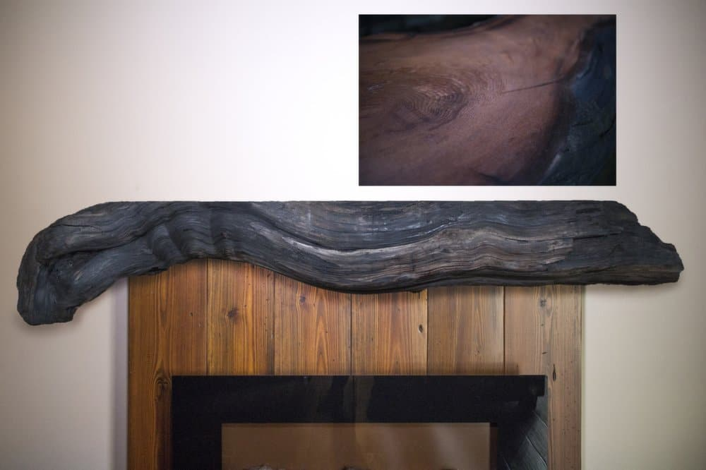 Rustic Redwood Driftwood Fireplace Mantel | Littlebranch Farm