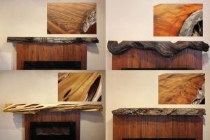 Live edge burl wood, driftwood, and twisted juniper fireplace mantels