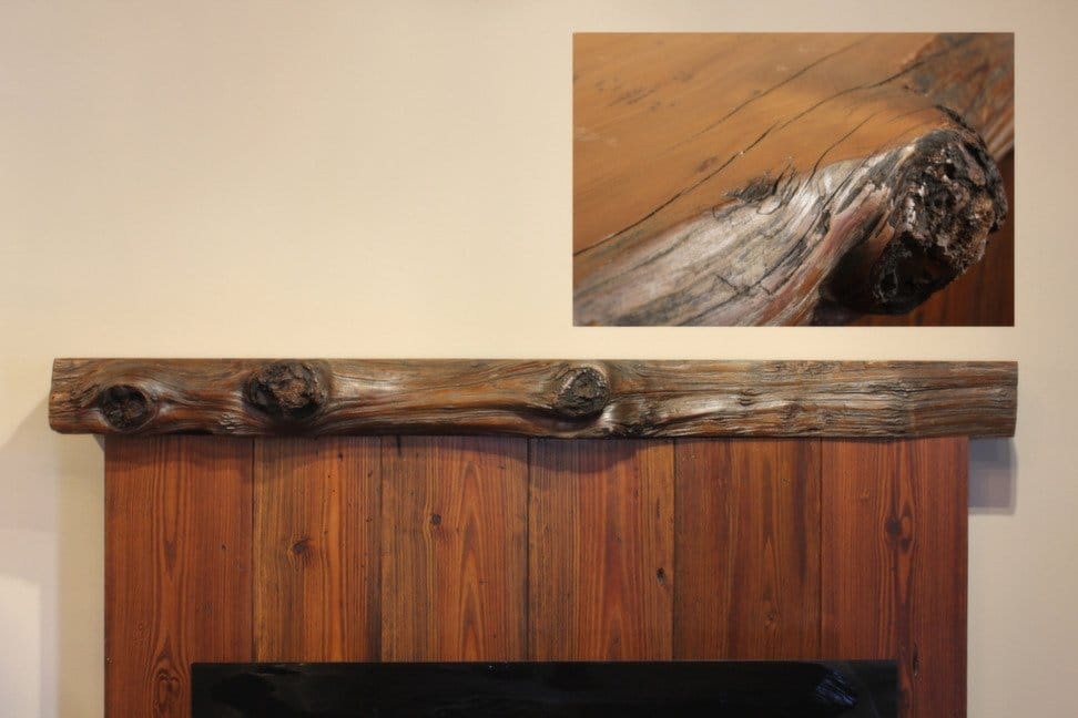 Rustic Redwood Fireplace Mantel