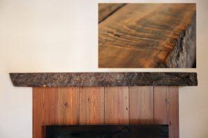 Reclaimed redwood fireplace mantel
