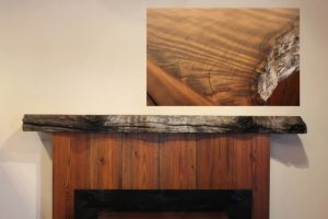 Natural Rustic Redwood Fireplace Mantel