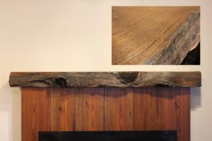 Rustic Knotty Redwood Fireplace Mantel with Live-edges and a Natural Wood Finish