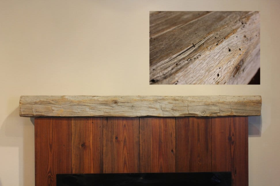 Hand-hewn Oak Barnwood Beam Fireplace Mantel with Live-edges and Natural Wood Finish