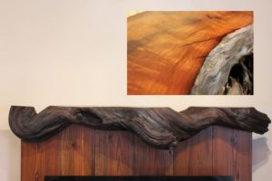 Reclaimed Redwood Driftwood Fireplace Mantel