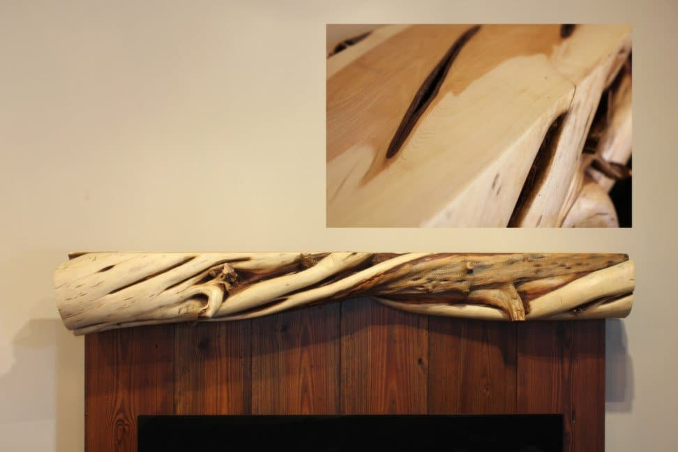 Rustic knotty twisted juniper mantel