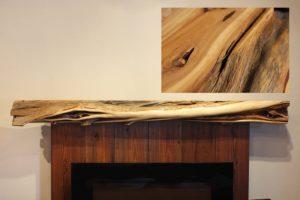 Simple juniper fireplace mantel