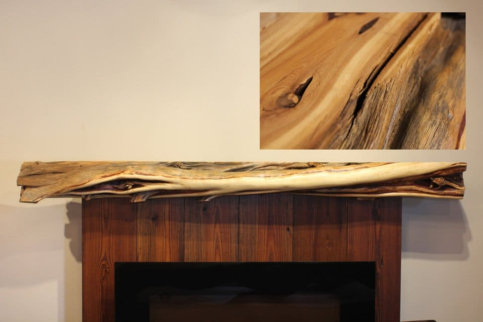 Simple juniper fireplace mantel