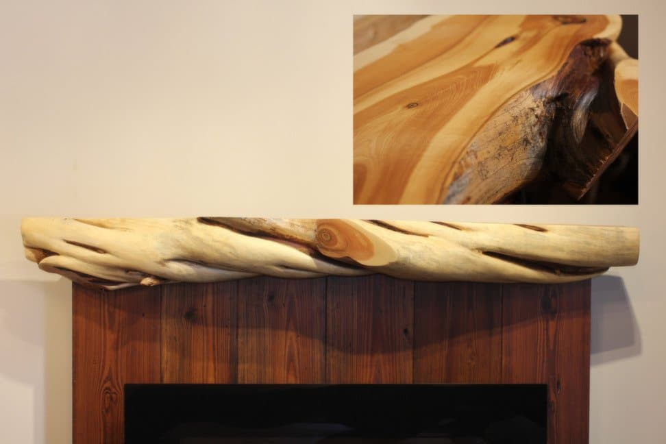 Chunky twisted juniper fireplace mantel