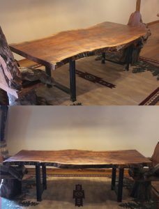 Rustic Dining Table - Claro Walnut Table Top and Metal Base | Littlebranch farm