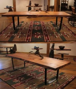 Rustic Redwood Dining or Conference Table with Metal Base | Littlebranch Farm