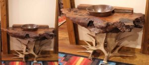 Rustic vanity with curly redwood and fallow antler base