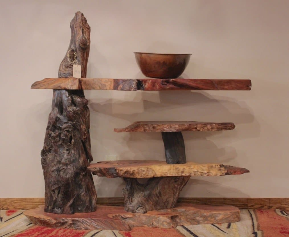 Rustic live-edge redwood table