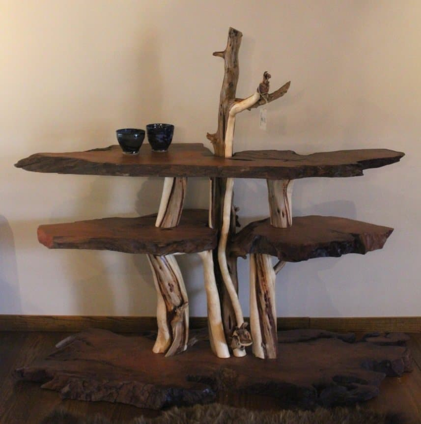 Multi-level accent table made from redwood and twisted juniper