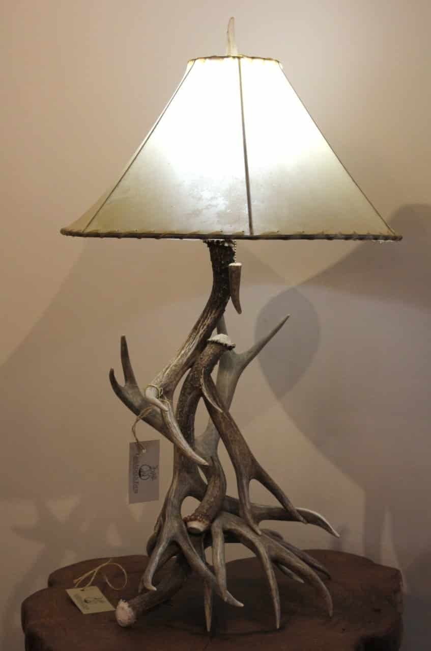 Mule Deer Antler Table Lamp With Shade Littlebranch Farm