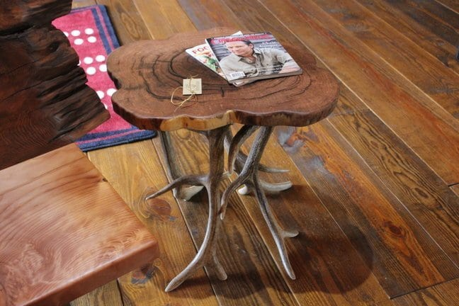 End table made from mesquite wood and antler