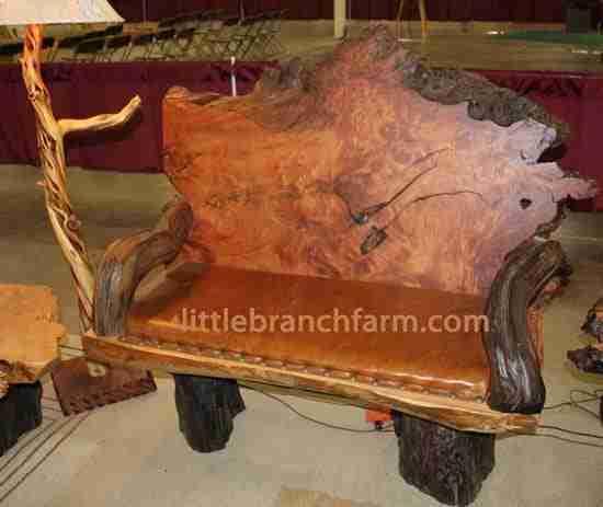 Rustic Slab Wood Coffee Table Bench: Littlebranch Farm Rustic Log Furniture