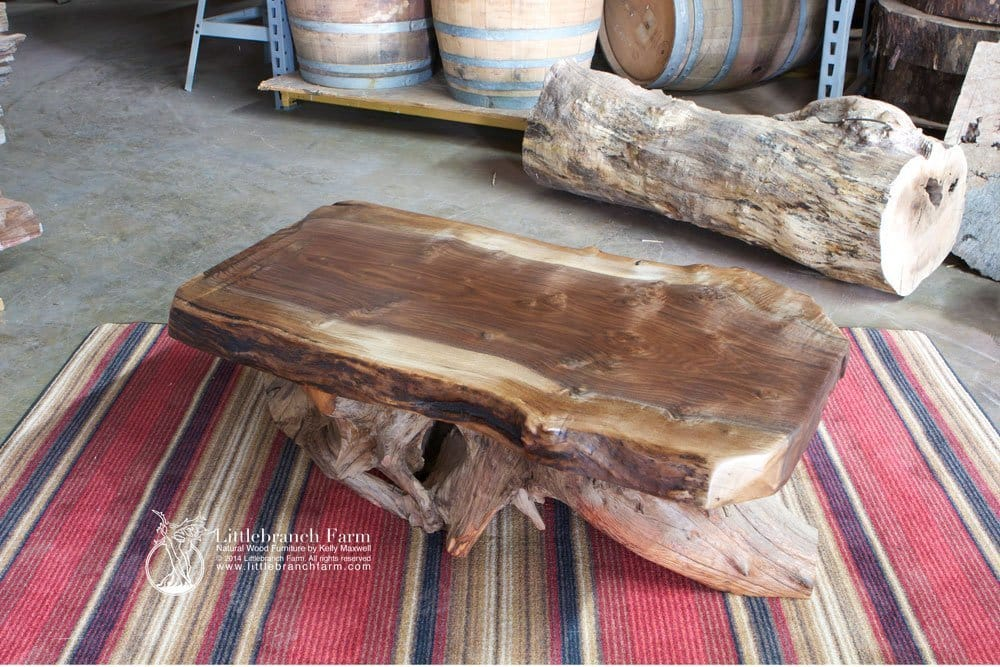 burl wood coffee table