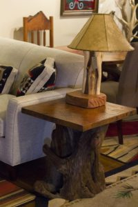 Rustic Copper Top and Cedar End Table   Littlebranch