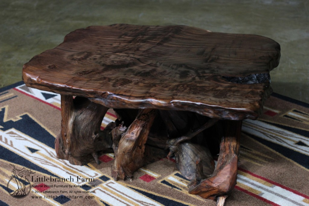 Mineral stained redwood coffee table