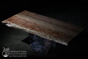 Live edge young growth redwood dining table