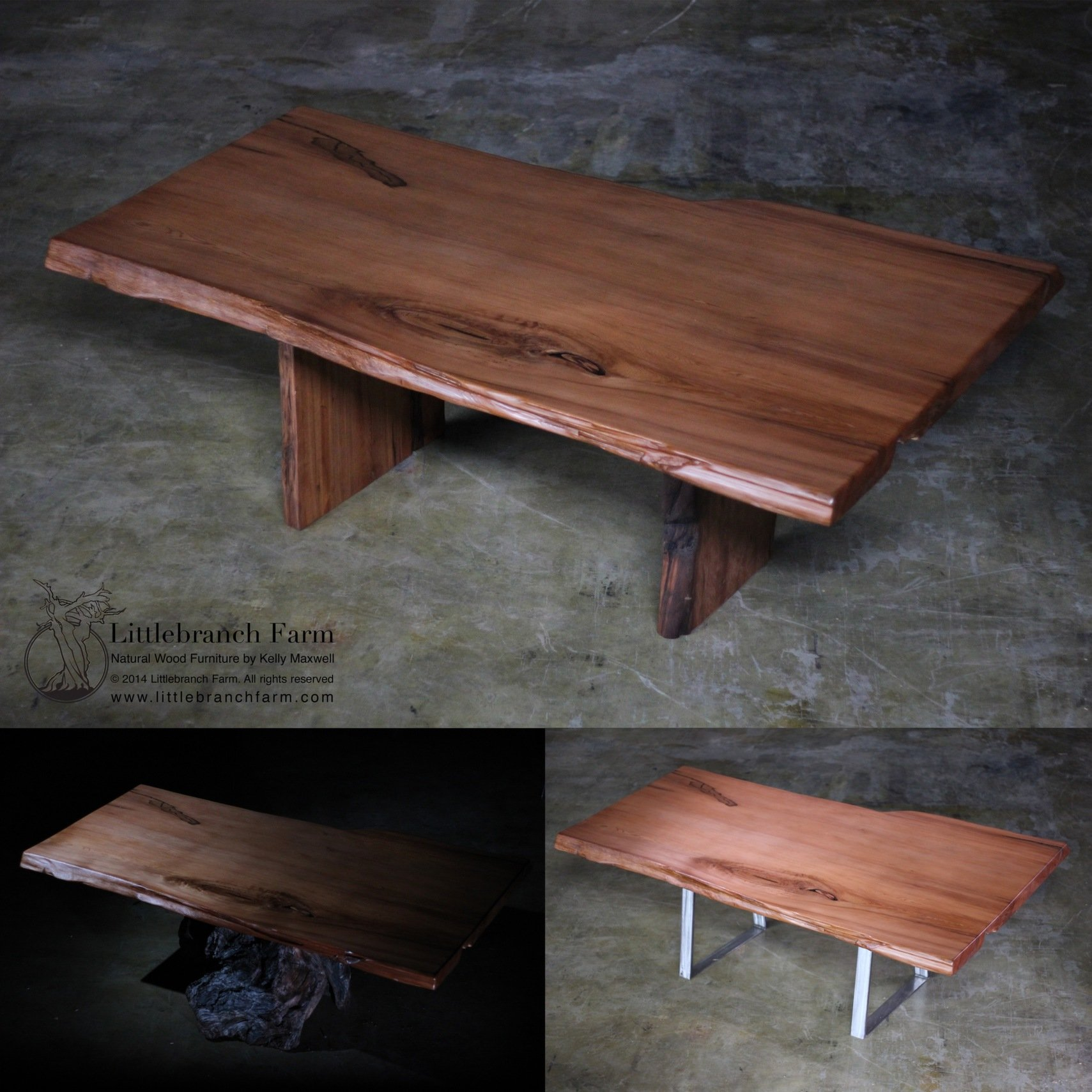 Live Edge Refurbished Redwood Dining Table | Littlebranch Farm