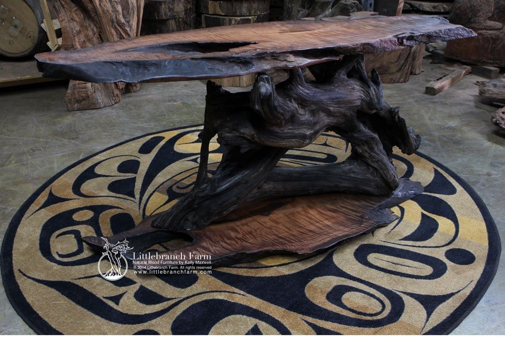 Charmant Driftwood Furniture Burl Wood Table Handcrafted ...