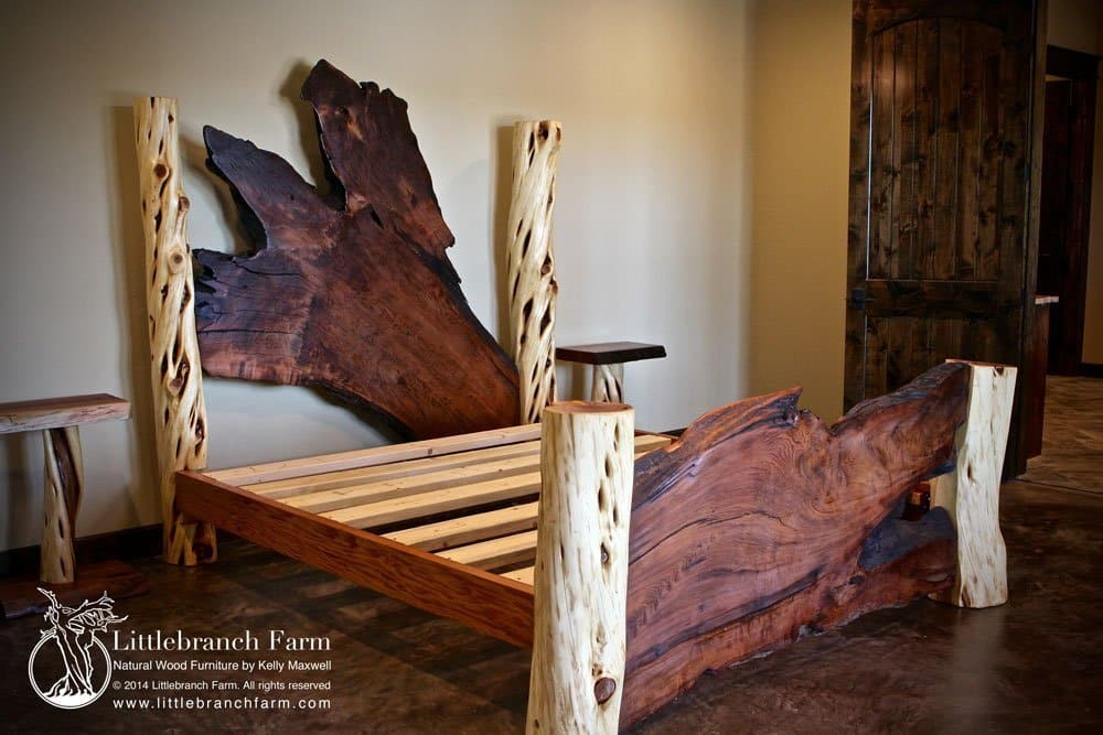 Rustic log bed