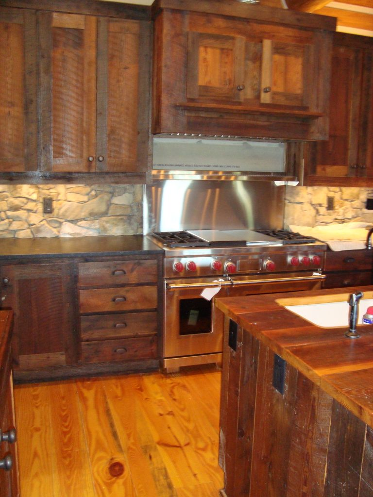Evolution of rustic live edge wood littlebranch farm for Rustic kitchen cabinets