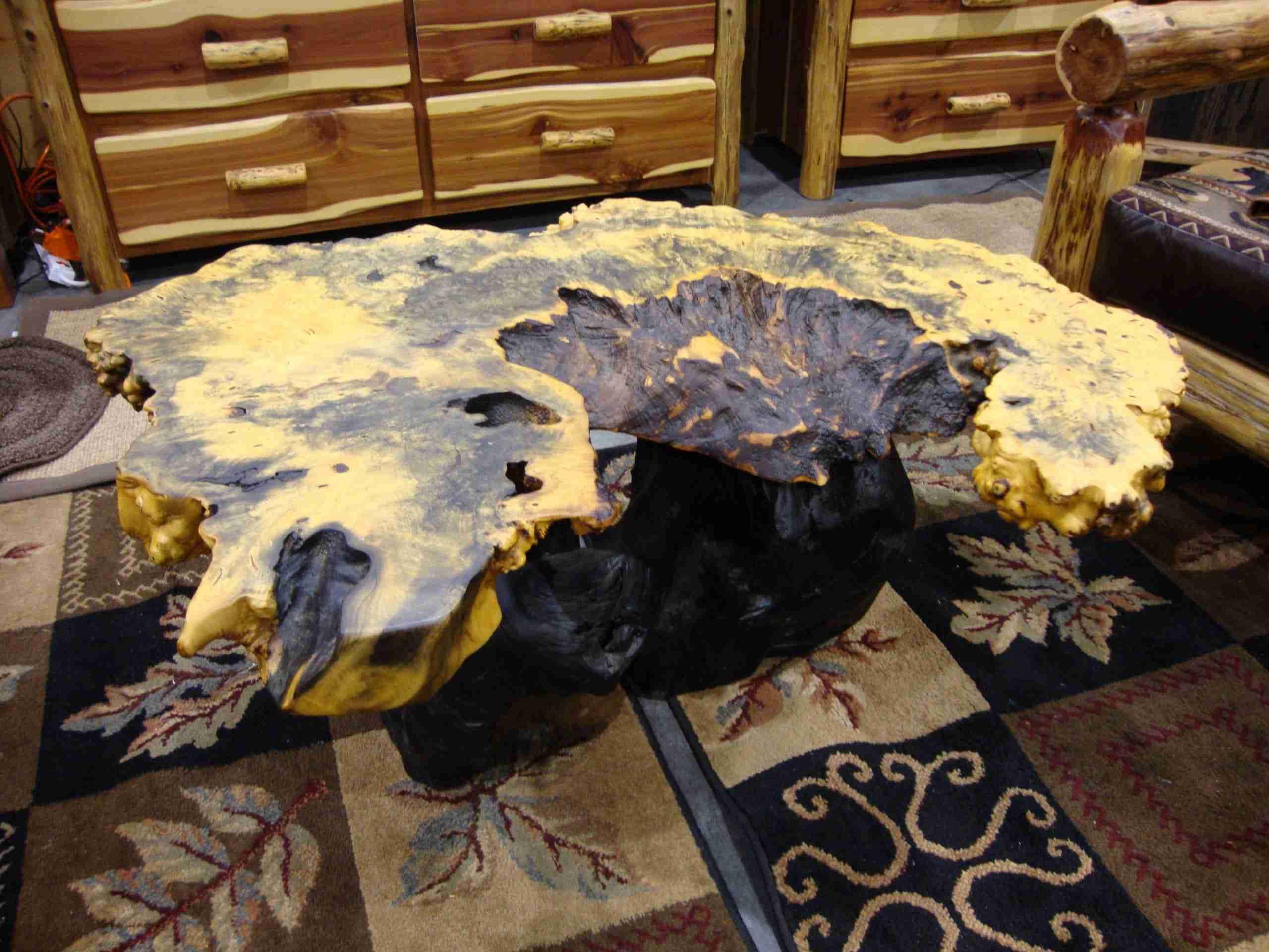 Natural wood Buckeye burl of natural live edge wood slab