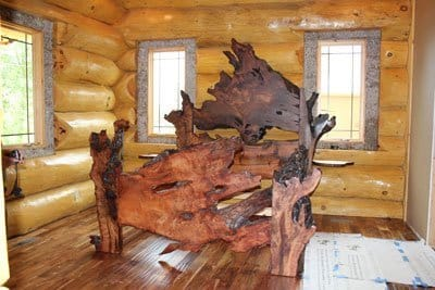 redwood burl rustic bed