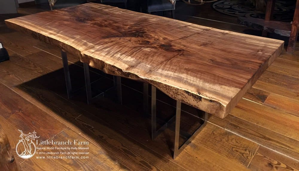Rustic Table Live Edge Table Wood Table Littlebranch  : Modern claro walnut wood slab table from littlebranchfarm.com size 1000 x 572 jpeg 130kB